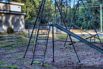 """Abandoned Playground - Cowichan Station Rural Traditional School - Cowichan Station, BC, Canada Please visit our blog """"The Playground Children Forgot"""" for the story behind the photos."""