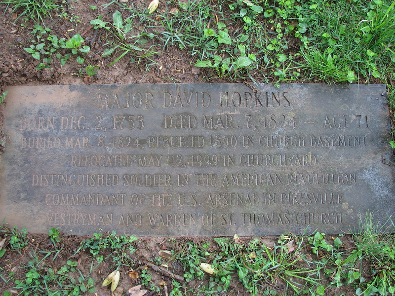 This stone is set into the ground over the relocated grave of David Hopkins