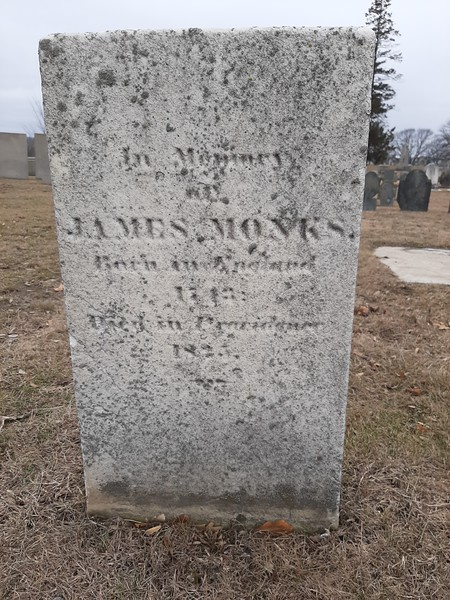 The grave of James Monks