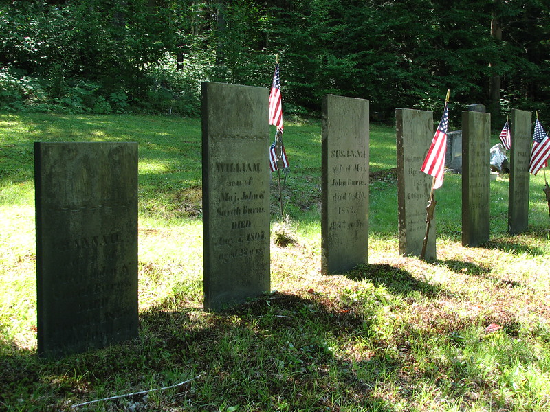 A row of gravestones that commemorate the Burns family