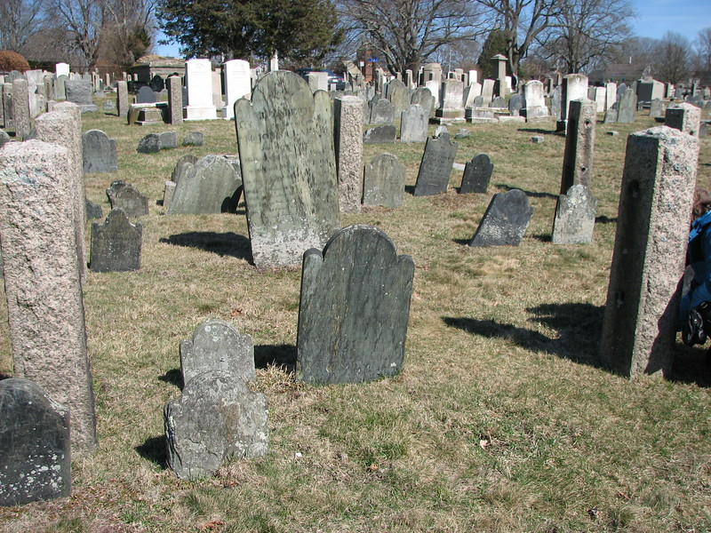 The Finch family stone is in the center foreground. The first name is William Finch, the father, then his wife and four of his sons, who all died in early adulthood. To find this grave, please refer to my gallery on John Topham, as this stone is four graves to the right of that one.