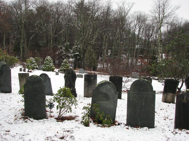 Taggart's gravestone, on the left in this photo, is located in the northeast corner of the cemetery, approximately 110 feet from the east edge, and 150 feet from the north edge. This photo looks toward the east border of the cemetery.