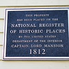 Plaque on the mansion