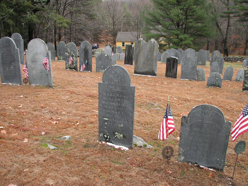 Use this photo to help locate the grave, which is in the center of this shot. It is about halfway in from the street, and 110 feet from the north wall. The stone to the right, flanked by flags, is that of John Blair, a fellow participant on the March.