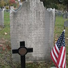 Gravestone of Simeon Thayer. The long inscription is illegible, except for parts of the bottom few lines
