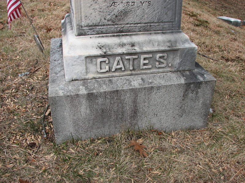 Close up of the family name on the right-hand face