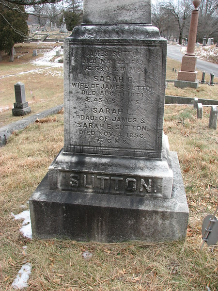 Sutton relatives are remembered on the left face of the monument