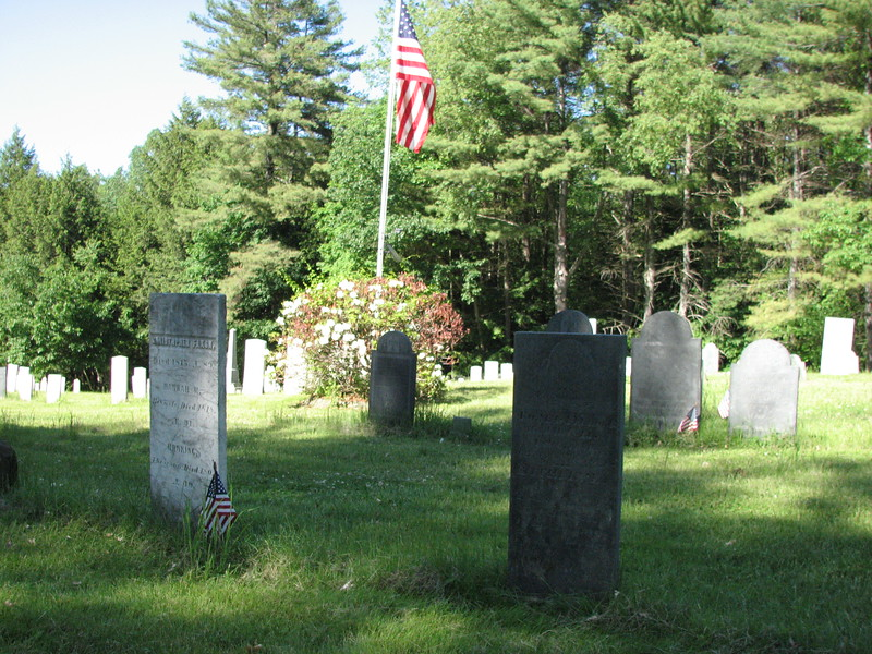 Frohock's gravestone is the tall dark one in the right foreground. Note the flagpole, and use it to help locate the grave. The stone is about 82 feet from the front of the cemetery (Old Lake Shore Rd), and about 60 feet from the left edge.