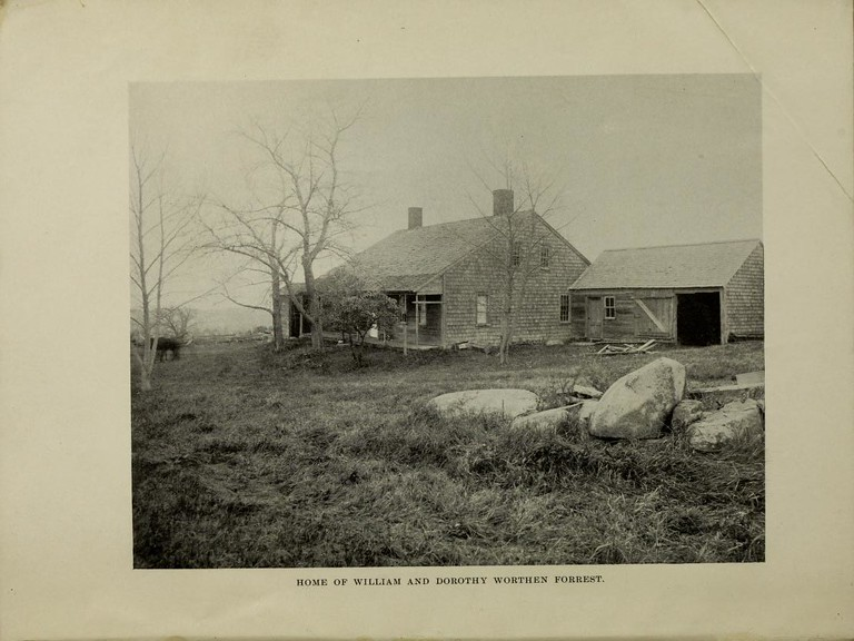 "Photo of the Forrest house, found as the frontispiece of the book ""A History of the Antecedents and Descendants of William and Dorothy Worthen Forrest of Canterbury Borough, NH"", by Lucy Rogers Hill Cross, 1897. The family cemetery is said to be within a stone's throw of this house, per the previously mentioned source. I do not know if it still stands."