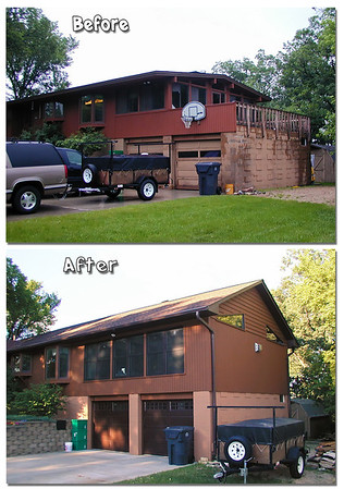 Before and after 2002 remodeling that included a raised roof and family room addition.