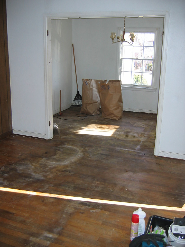 LIVING ROOM & DINING ROOM. Good news: the nasty carpet and pad are long gone. Bad news:  there were more surprises below!