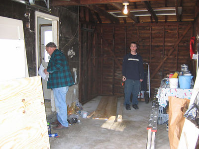 NEW STAIRWELL. Jay, Grandpa, & Jay P work hard building nice-smelling steps out of fresh lumber!