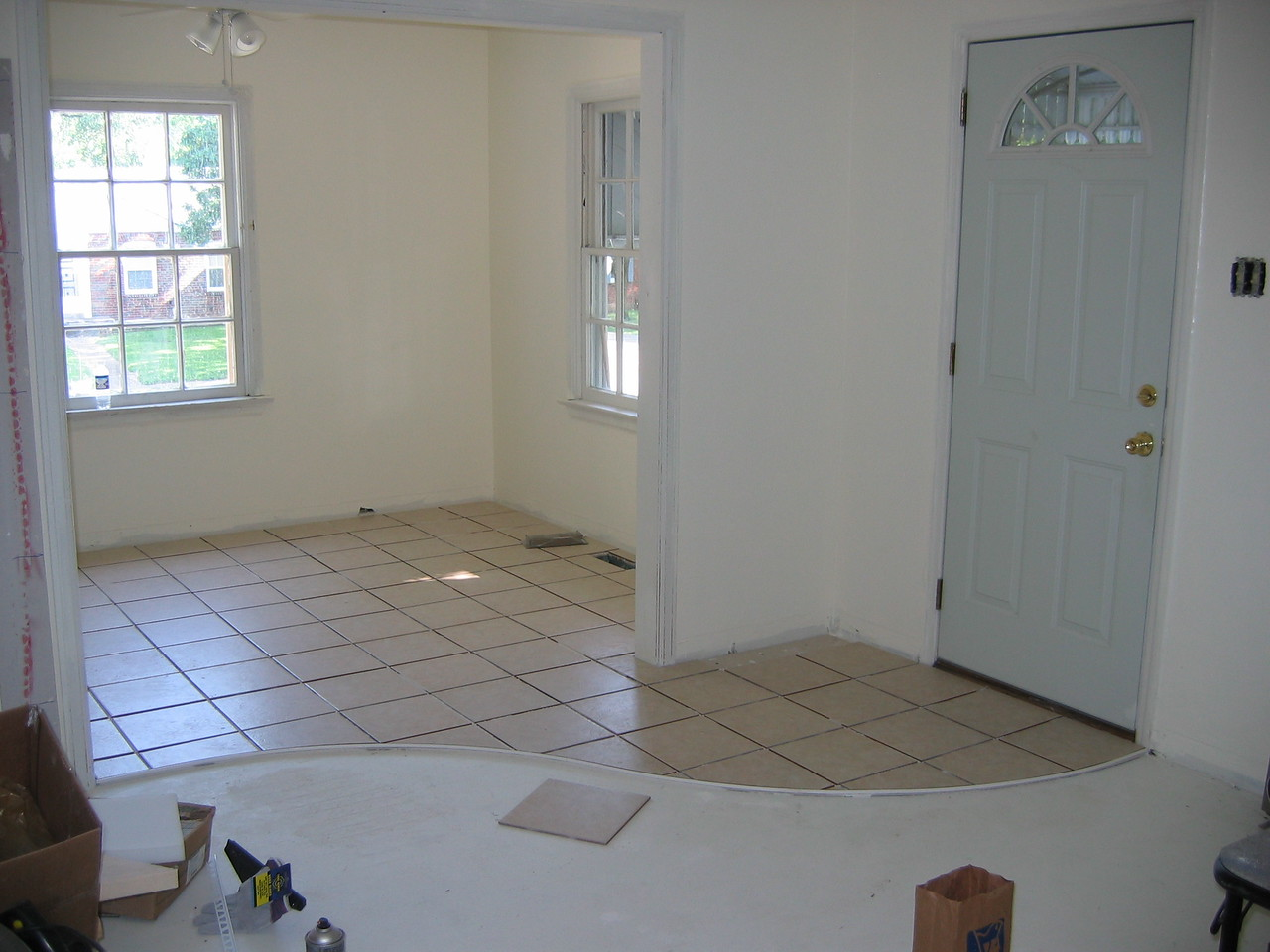 CERAMIC TILE View from living room into dining room.