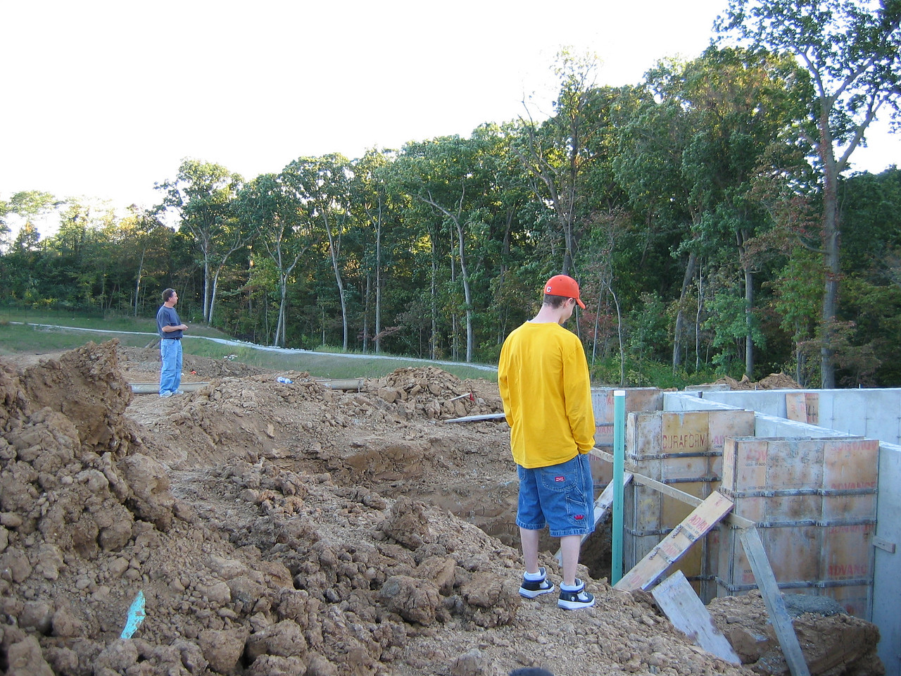 View of Foundation and Woods down to left September 28