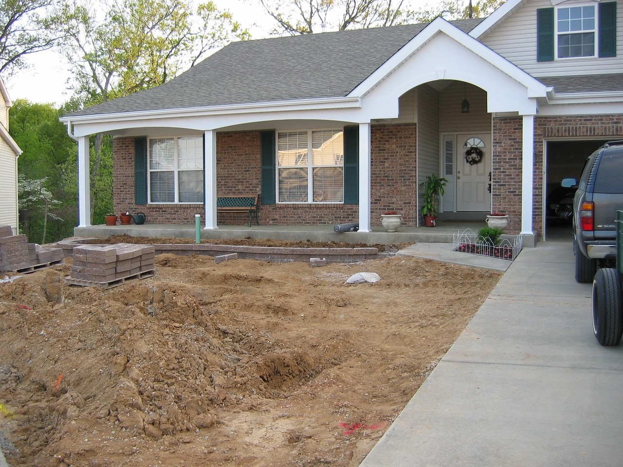 Front Stone Planter Boxes in Progress April 19