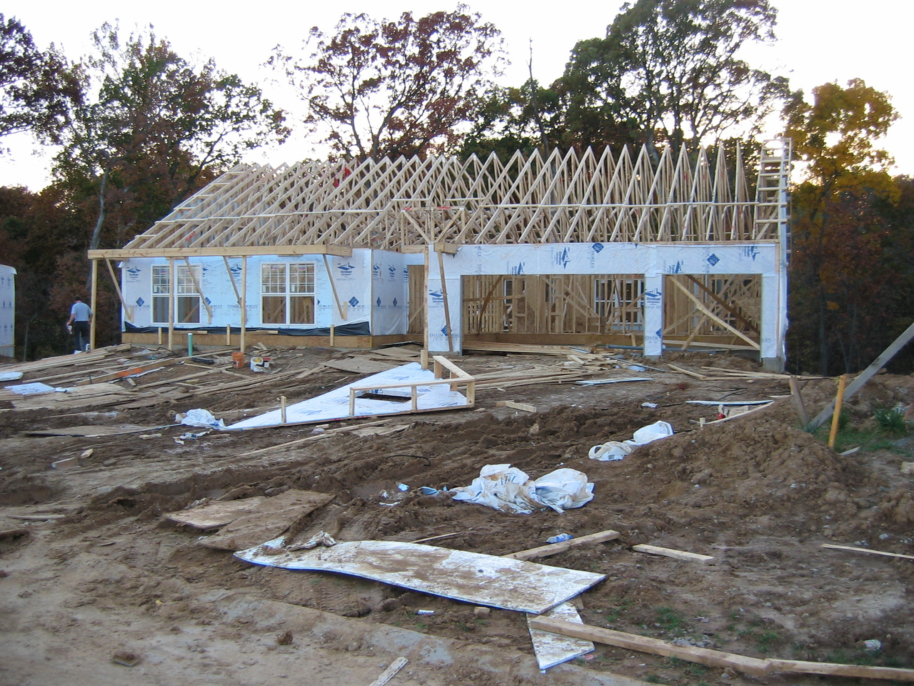 Roof Trusses Temporarily in Place