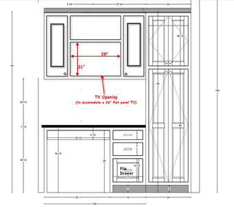 Cabinet space requirements to accommodate a 26 inch flat panel TV...