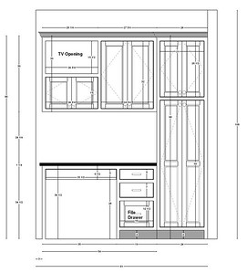 The original elevation view of the Kitchen desk...