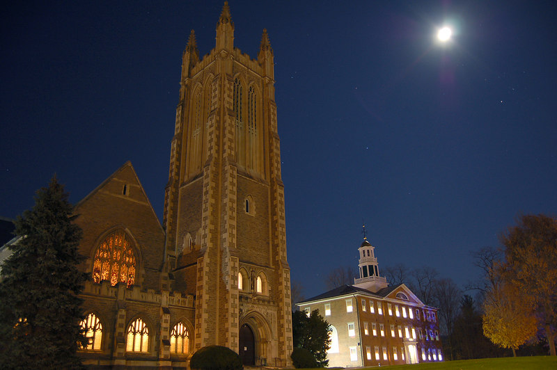Thompson Chapel and Griffin Hall at night, Williamstown, MA