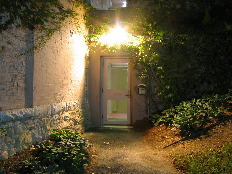 The rear entrance to Jesup Hall, Williams College, Williamstown, MA, at night.