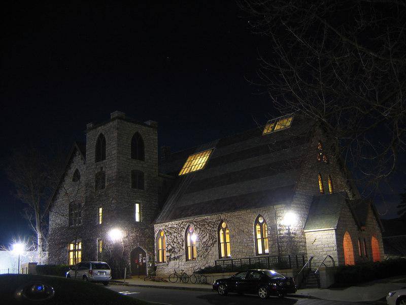 Goodrigh Hall at night, Williams College, Williamstown, MA
