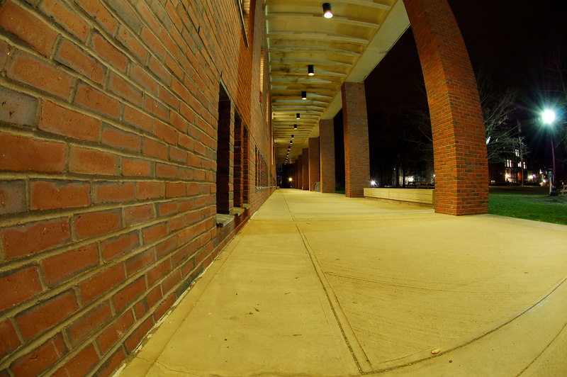 Walkway in front of Sawer Library, taken with a 10.2mm fisheye.  Williamstown, MA.