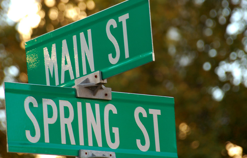 Signs at the intersection of Rt 2 and Spring St, Williamstown, MA