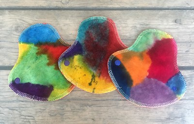 """THREE HalfWrap Liners - hand painted bamboo velour - """"Elsa's abstracts"""""""