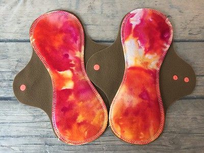 """TWO Regular Flow Comfort Contour Pads - bamboo fleece, smooth side up - """"ice dye"""""""