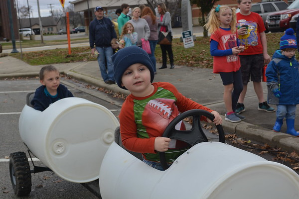 Jeremy Kopf, 2, the son of Eric and Jeanna Kopf enjoys a train ride on Saturday during Hometown Christmas. Dawn Schabbing photo