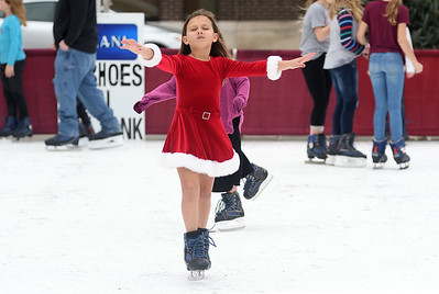 Alivia Blomberg, 7, of Farina skates Saturday afternoon during the Hometown Christmas in downtown Effingham sponsored by the Downtown Effingham Business Group.  Chet Piotrowski Jr. photo/Piotrowski Studios