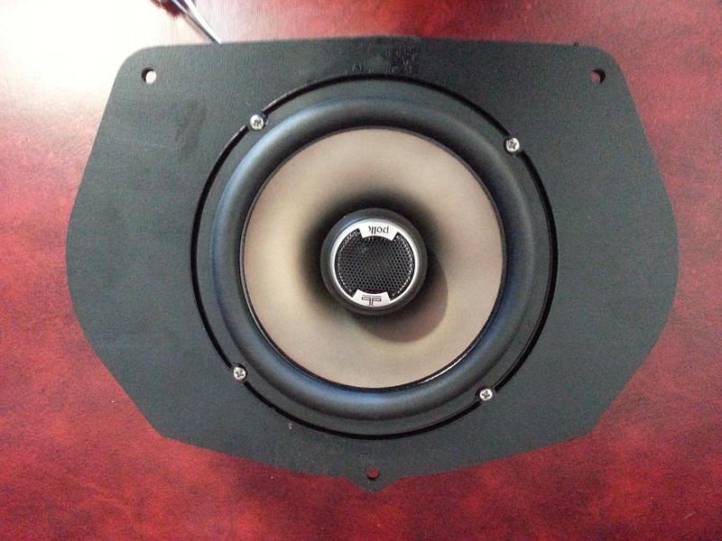 "Aftermarket speaker mounted to speaker adapter plate  from  <a href=""http://www.car-speaker-adapters.com/items.php?id=SAK030""> Car-Speaker-Adapters.com</a>"