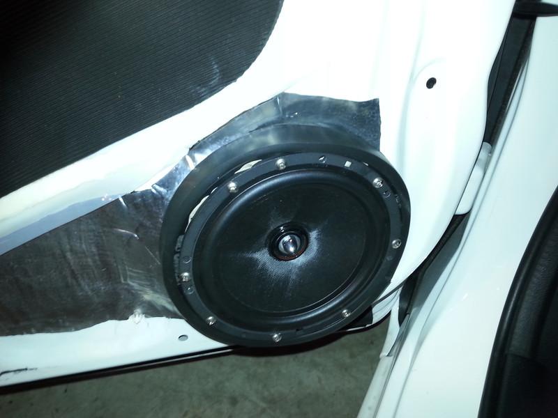 "Sound deadener,  aftermarket speaker and speaker adapter ring  from  <a href=""http://www.car-speaker-adapters.com/items.php?id=SAK094""> Car-Speaker-Adapters.com</a>   installed on door"