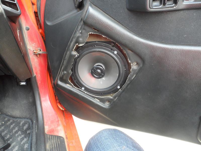 """Aftermarket speaker and speaker adapter bracket  from  <a href=""""http://www.car-speaker-adapters.com/items.php?id=SAK033""""> Car-Speaker-Adapters.com</a>   Installed on door.  Door panel reinstalled."""