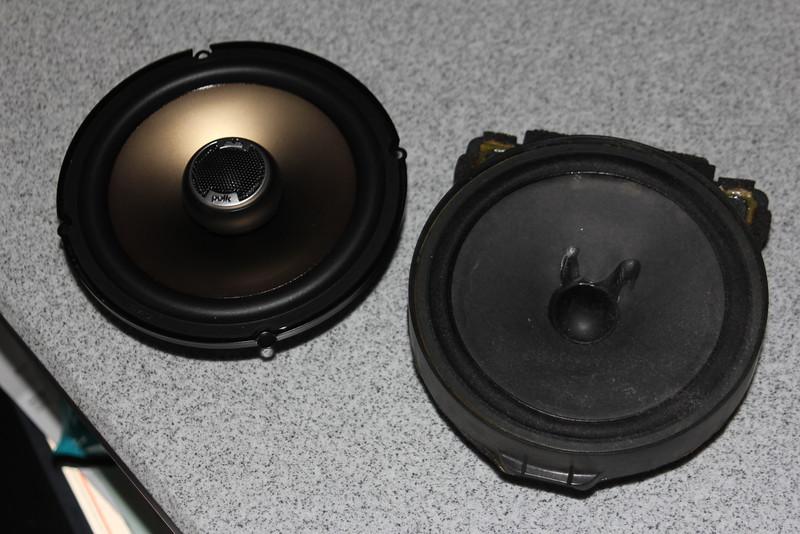 Left: Aftermarket speaker<br /> Right: Factory speaker