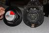 Left: Aftermarket speaker (rear view)<br /> Right: Factory speaker (rear view)