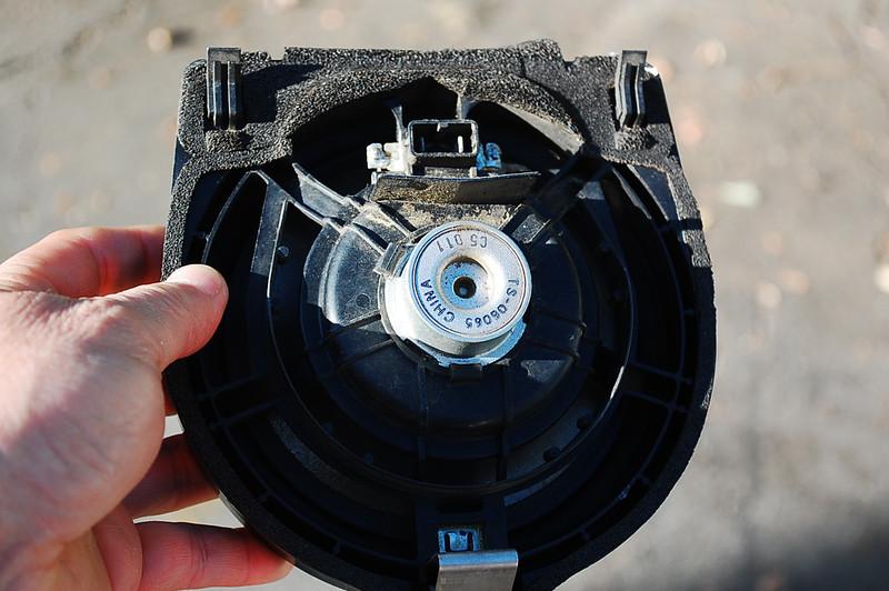 Rear view of factory speaker