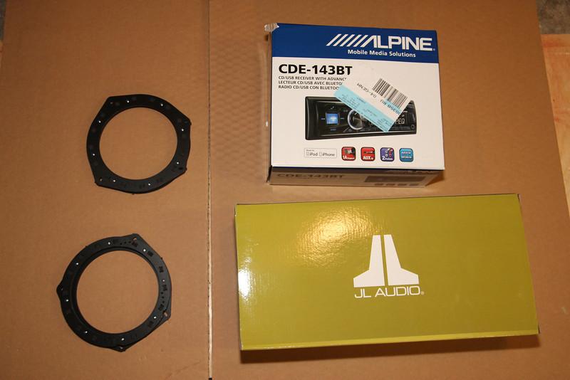 Parts: car-speaker-adapters.com baskets, Alpine CDE 143BT deck, JL TR650Csi Component Speakers.