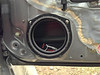 "Speaker adapter bracket  from  <a href=""http://www.car-speaker-adapters.com/items.php?id=SAK033""> Car-Speaker-Adapters.com</a>   mounted to door.  Foam sealer installed."
