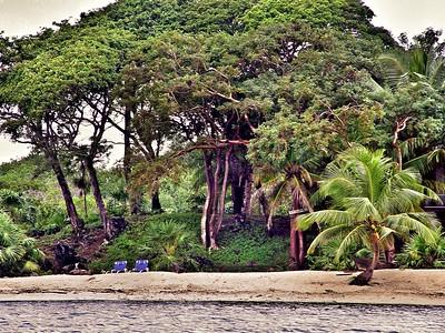 The beach at Dixon Cove on Roatan Island