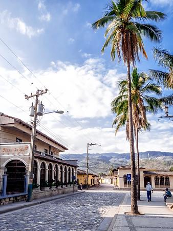 Street by Parque Central in Copan Ruinas, Honduras.
