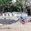 Parrots and ruins at the Copan Archaeological Park in Honduras.
