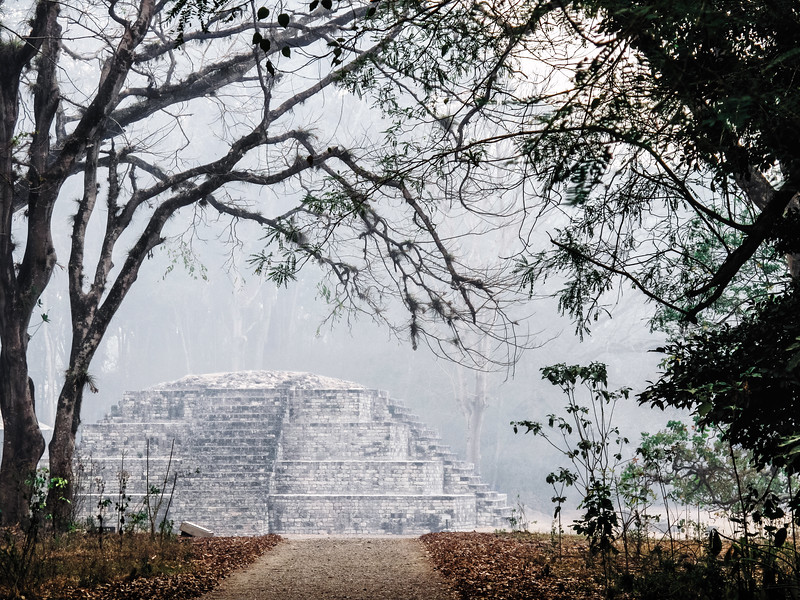 Fog over the ruins of a mayan temple at the Copan Archaeological Park in Honduras.