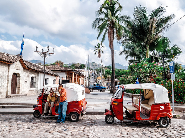 Tuk-tuk taxi waiting by Parque Central in Copan Ruinas, Honduras.
