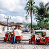 Tuk-tuk taxi waiting by Parque Central in Copan Ruinas, Honduras.