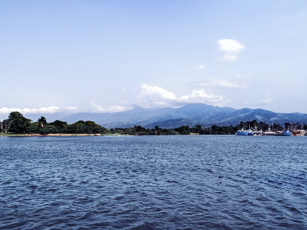 The landscape as seen from the port of the town of La Ceiba in Honduras from which offers ferry connections to the islands of Utila and Roatan.