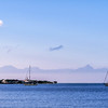 Ships on the water by Utila Island in Honduras.
