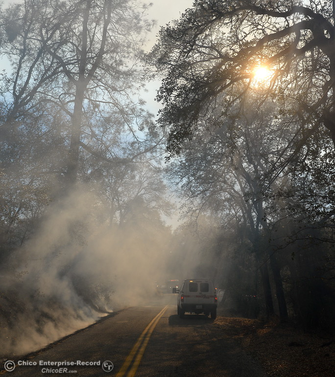 . Firefighters arrive on scene in Butte Creek Canyon where a fire started near 2485 Honey Run Road and ran up Butte Creek Canyon toward lower Paradise, Calif. Monday Oct. 9, 2017. (Bill Husa -- Enterprise-Record)