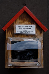 Doggie Poop Pickup Station I noticed this little thing pinned up on the wall in the Squaw Valley Village.  Interesting that they provide the baggies, but no dedicated bin.
