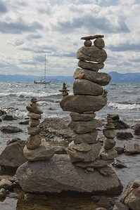 Stone Stacking (2) Note the smiley face at the top.  Now how's that for attention to detail.